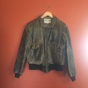 Vintage American Eagle leather bomber jacket